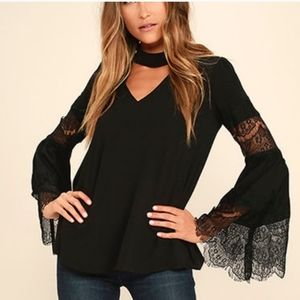 Lulus Step and Repeat Black Lace Long Sleeve Top